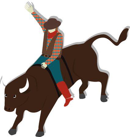Illustration of matador riding bull in Spain. Bullfighter. Illustration
