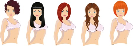 Diferentes cortes de pelo de mujer y tamaños de mama Ilustración de vector