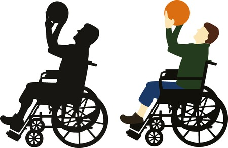 rehab: Wheelchair basketball silhouette and color vector Illustration