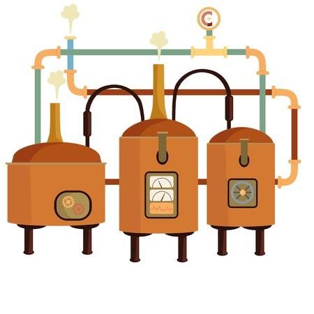 machine de brasserie. Réservoirs avec de la bière.