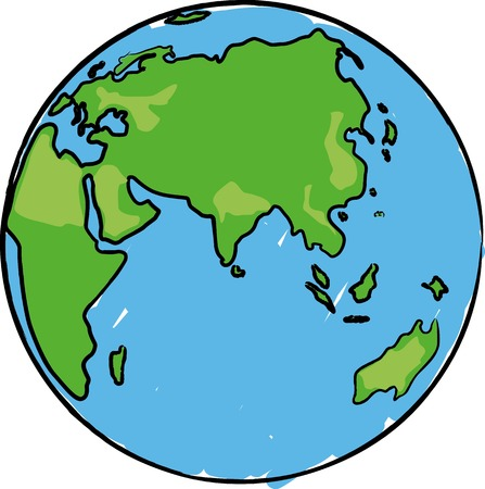 Cartoon earth globe with eurasia, africa and australia