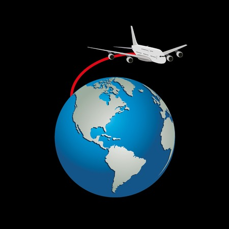 Realistic jet airplane flying around the earth globe Illustration