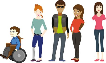 blind man: Handicapped people. Blind man, broken arm, one leg, and people on wheelchair.