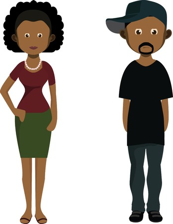 Cartoon african man and woman isolated