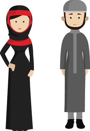 Cartoon muslim couple. Traditional Arab clothing man and woman.