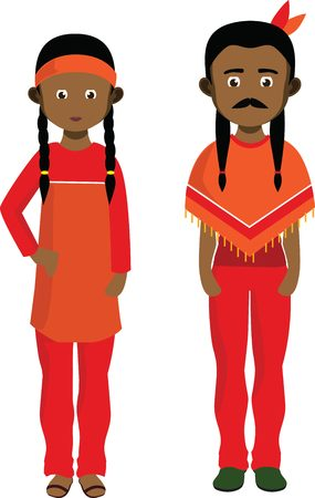 powow: Cartoon couple of American Indians. Native american man and woman.