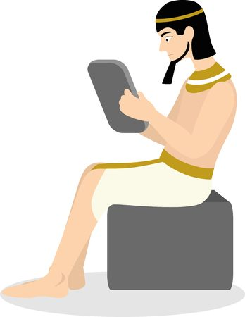Ancient Egyptian writing on clay tablet Illustration