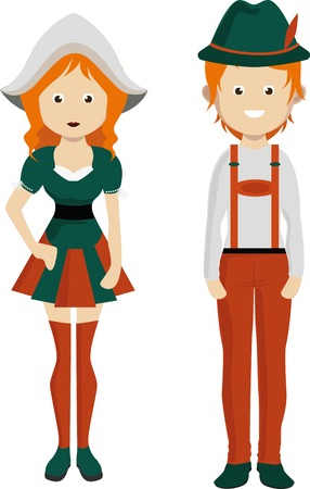 Cartoon german man and woman. German couple in national costume. Illustration