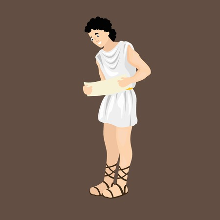 Ancient greek man with papyrus Illustration