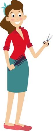 De dibujos animados feliz hembra peluquería. barbero mujer con las tijeras y el peine.