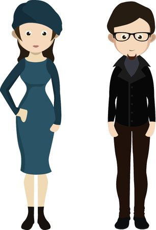 Cartoon french couple in traditional costumes. Man and woman from France. Illustration