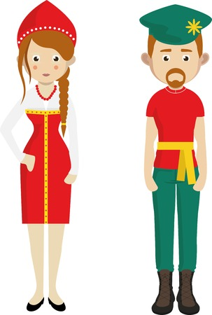 russian man: Russian man and woman cartoon couple in traditional costumes