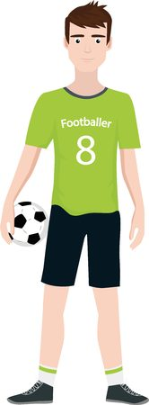 Soccer player standing and holding the ball Illustration