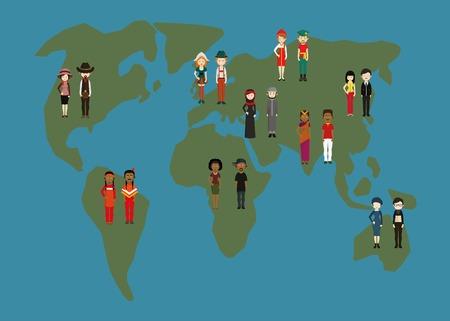 Cartoon Paare in Trachten auf der Erde Karte stehen Standard-Bild - 64037874