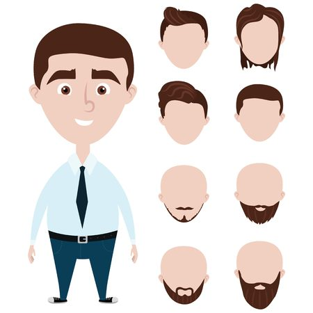 alluring: Cartoon funny man with haircuts set