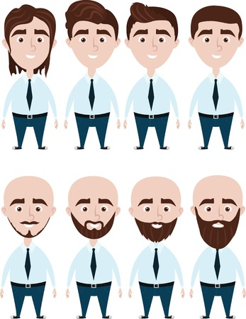 bald spot: Progress of man haircuts. Male hair evolution.