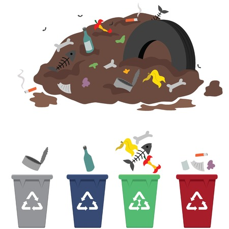 waste heap: Waste sorting from trash heap Illustration