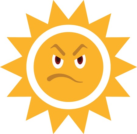 Angry sun. Very hot sunny weather.