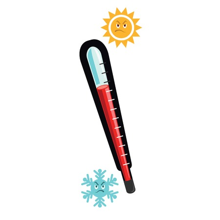 termometer: Thermometer measuring heat and cold, with angry sun and snowflake