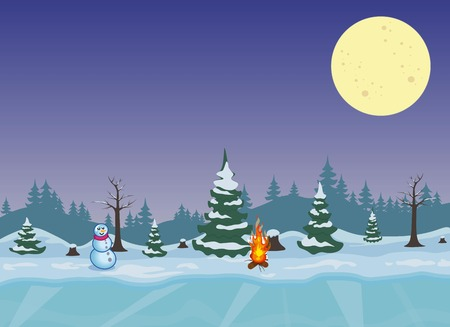 Night winter forest with fire and snowman Illustration