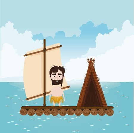 Robinson sails in open ocean on the raft with hut