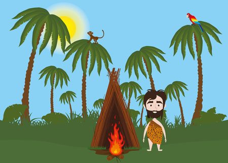 Lonely caveman in jungle with hut and fire