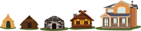 House evolution. Buildings from ancient times to modern.