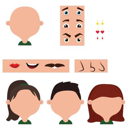 異なる顔パーツ: 目、鼻、唇。