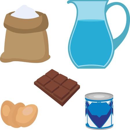 homemade bread: Pie baking ingredients: chocolate, sour, eggs, water, condensed milk