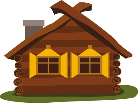 Ancient wooden house. Traditional north house. Illustration