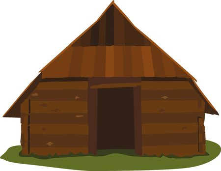 Ancient wooden house without windows. Traditional north house.