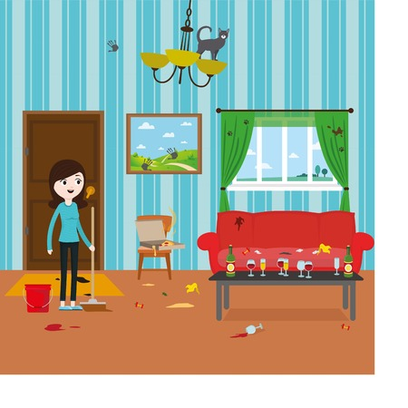 dirty girl: Cartoon funny girl cleaning dirty room