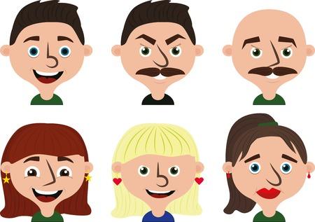 Cartoon faces set: three woman and three man heads
