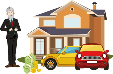 Rich old man with big cottage, cars, money. Realistic illustration.