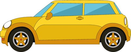 yellow car: Small yellow car with two doors Illustration