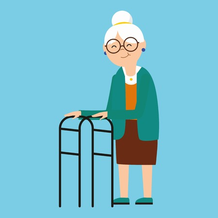 Old granny with eldery walker. Disabled old woman in flat style.