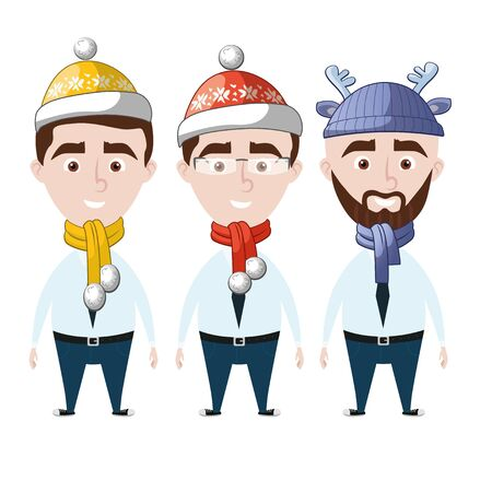 Business man wearing different Christmas hats and scarft. New year theme. Illustration