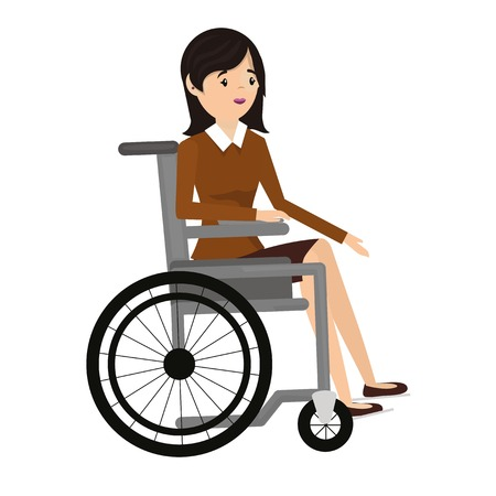 impaired: Handicapped woman in wheelchair.