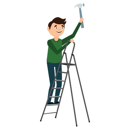 work clothes: Man fixing on the ladder