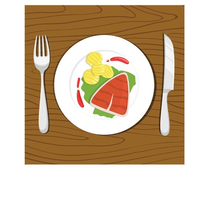 Beef steak on plate with potatoes Illustration