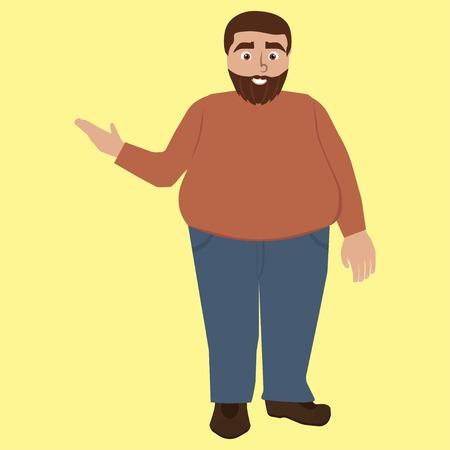 Funny fat man with beard