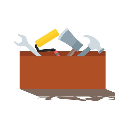 crowbar: Toolbox with tools. Flat style icon.
