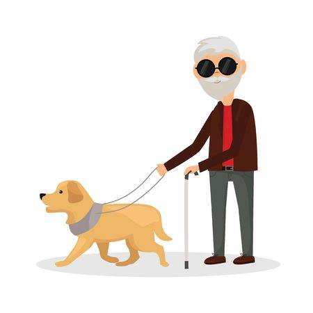 Blind man walking with his dog Stock Photo