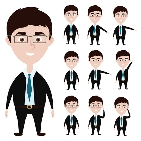 lift up: Cartoon businessman action poses: hold glasess, show something, lift hand up