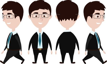 Cartoon Business Man front, side and back view 일러스트