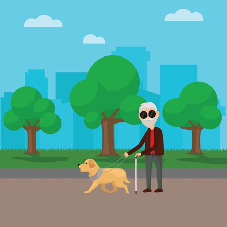 Blind senior man walking with his dog in the park Illustration