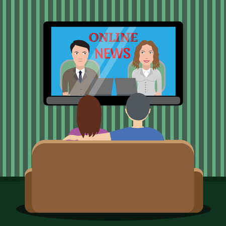watching television: People watching news on tv. Man and woman sitting on the couch in the room and watching television