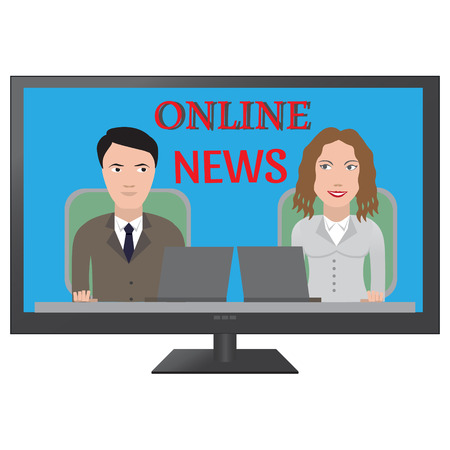 news media: TV latest news. Two reporters are the news media vector illustration Illustration