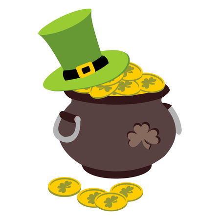 Vector illustration Saint Patricks Day card with clover leaf, gold, and green hat.