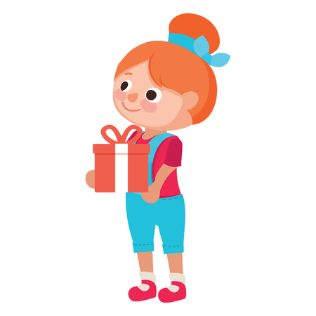 Cute little girl holding a gift with a red ribbon. Sleek style vector illustration on a white background.